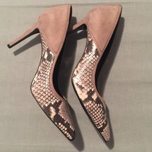 Aldo Grey Suede Snakeskin Pumps
